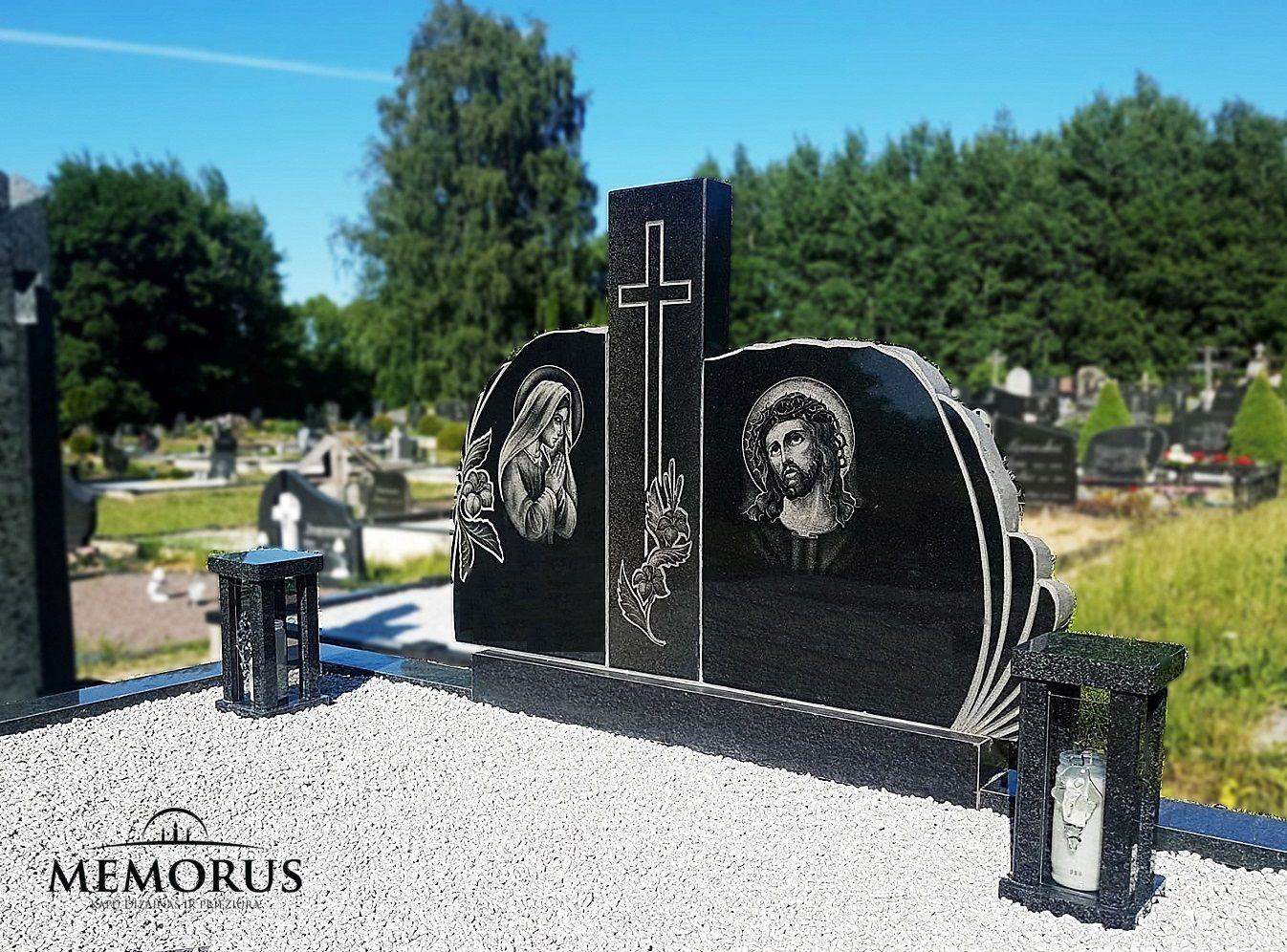 klasikinės juodos žvakidės kapams su stiklo dekoru