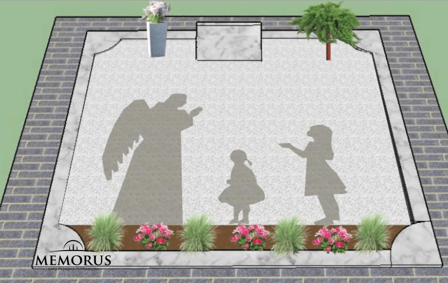 kapavietės dizainas su vyrišku angelu ir dvejomis mergaitėmis