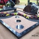kapo tvarkymas su dvieju spalvu skaldele ir daugiameciais augalais