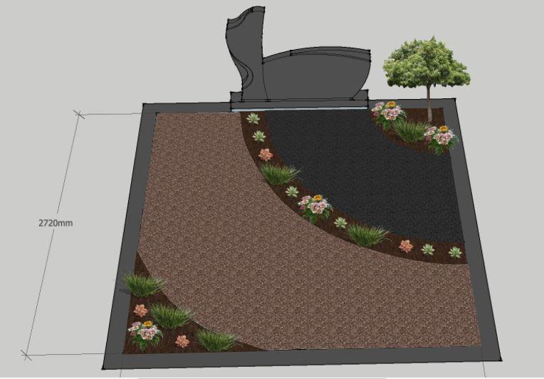 Kapo tvarkymo dizaino nuotrauka su pasodintais augalais ir juodu paminklu Panevėžyje