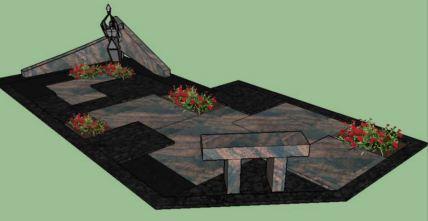 Netradicinio išplanavimo kapavietės projektas su skaldelės, akmens plokštės ir augalų deriniu, bei kampiniu paminklu
