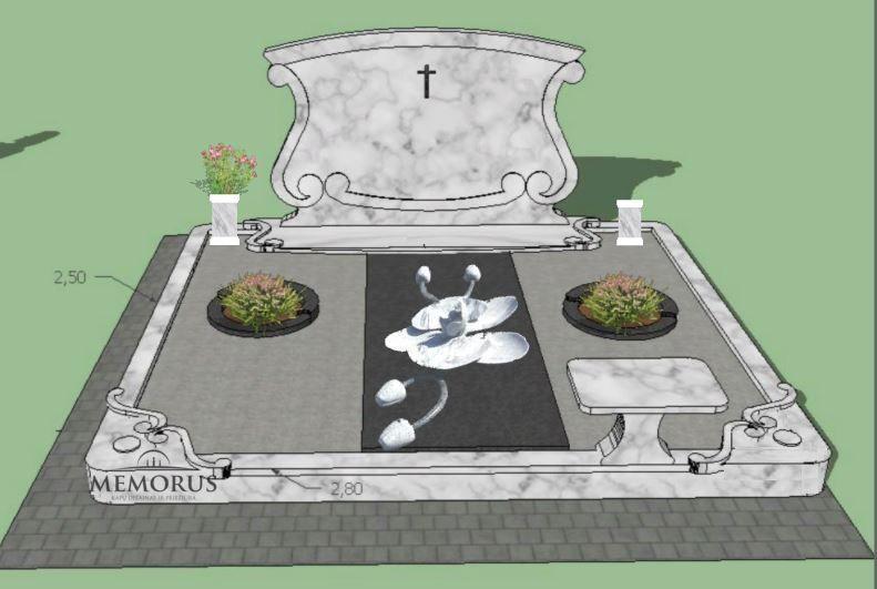kapavietės dalinio dengimo akmens plokšte dizaino projektas kapo įrengimui