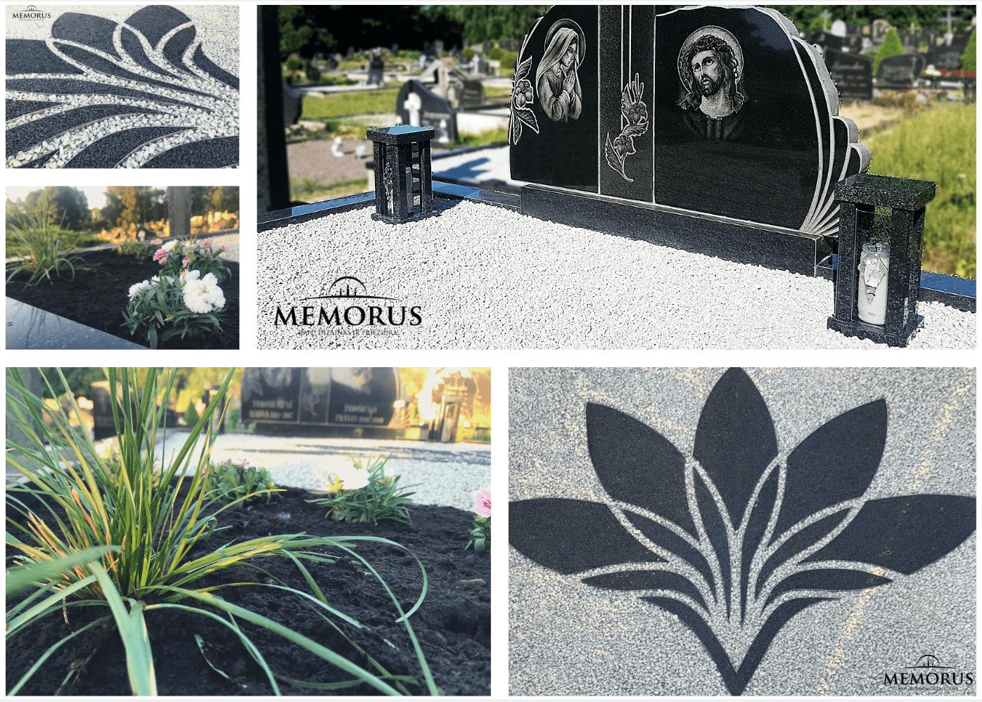 prie juodo paminklo pastatytos rankų darbo granitinės žvakidės ir kitas kapo dekoras