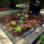 kapo renovacija pakeičiant paminklo formą ir apželdinant ryškiais augalais