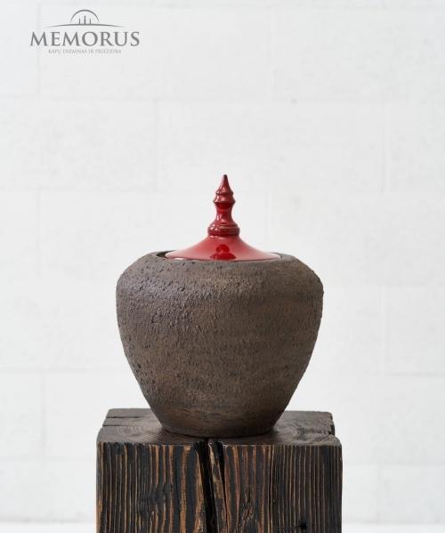 ruda kremavimo urna su dangteliu