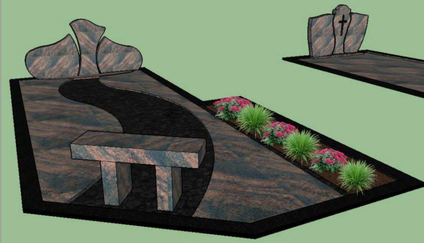Netradicinio išplanavimo kapavietės projektas su skaldele per vidurį ir trijų dalių paminklu
