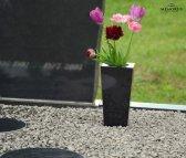 Subtili kapų vaza ant kapavietės su pamerktomis gėlėmis